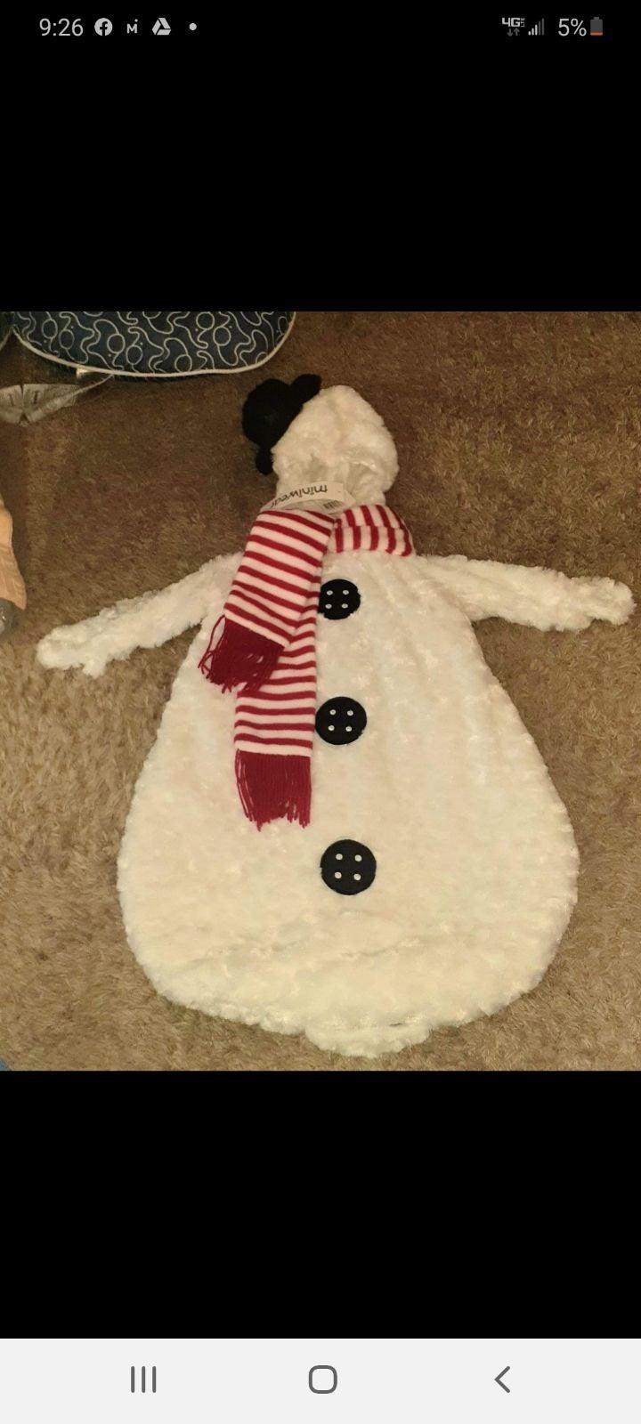 Infant Snowman Suit/Outfit 0-9 Months