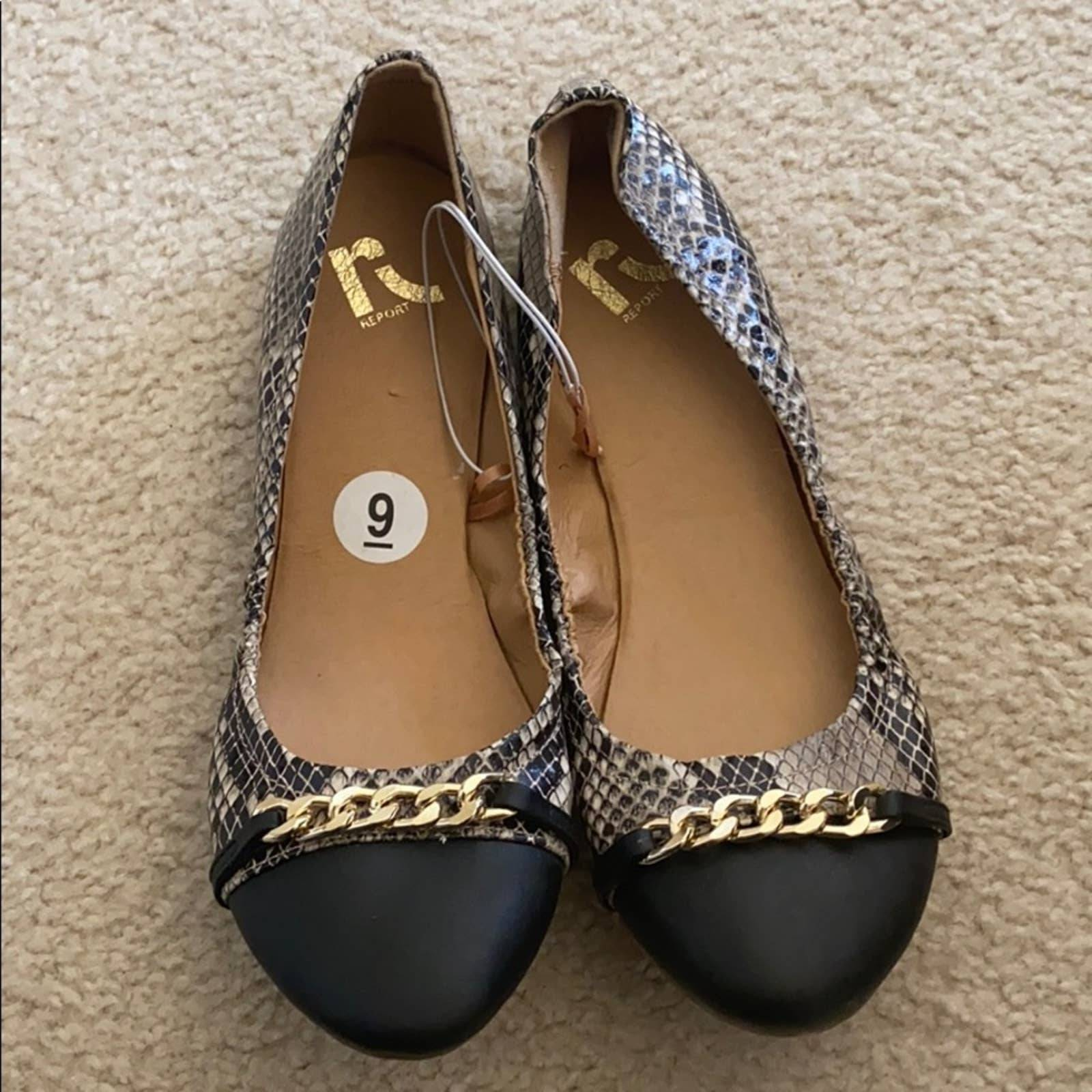 Report - Faux Snake Skin Flats Size 9