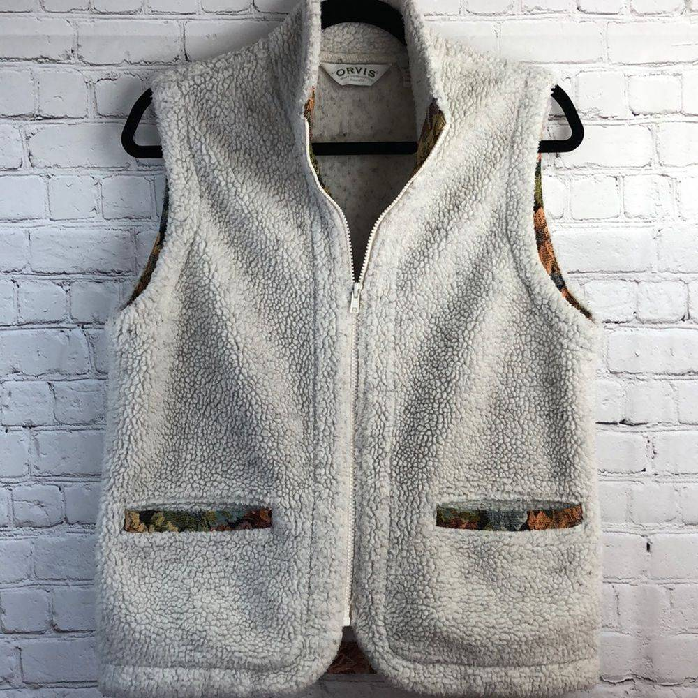 Sherpa Fleece vest w/ tapestry trim. Med