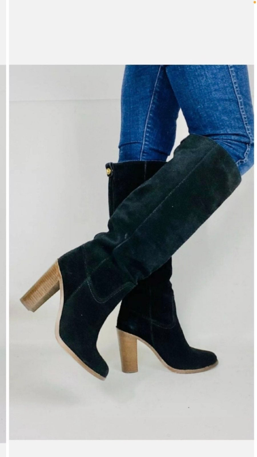 Coach Black Suede Effie Knee High Boots