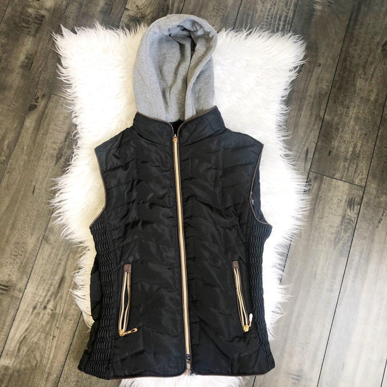 Hooded Vest Zip Up Jacket