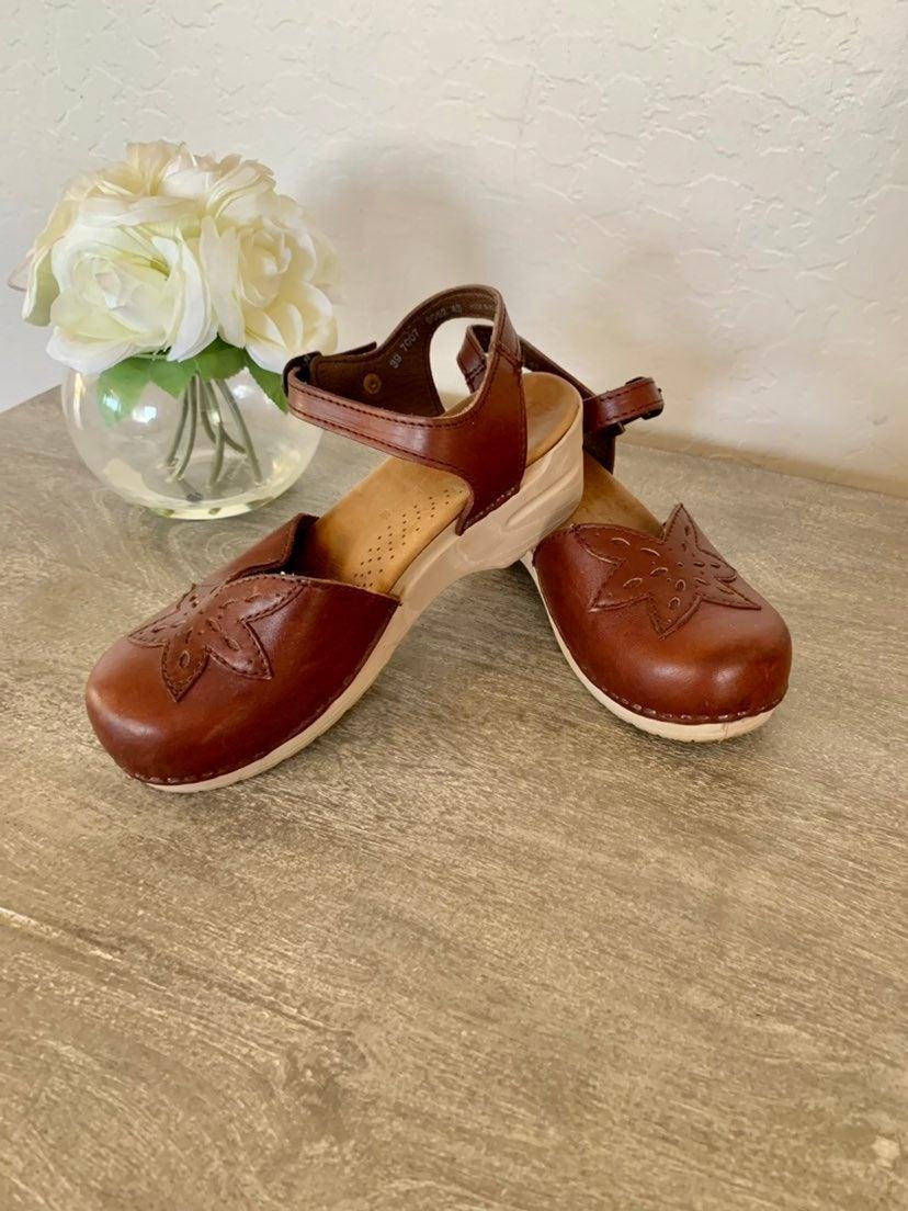 Dansko Ankle Strap Clogs in beautiful ho