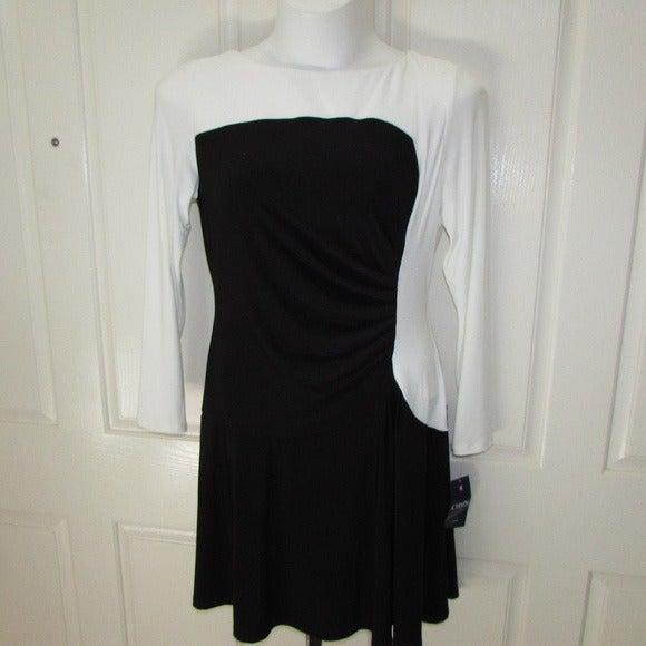 CHAPS Black & White Ruched Dress XL