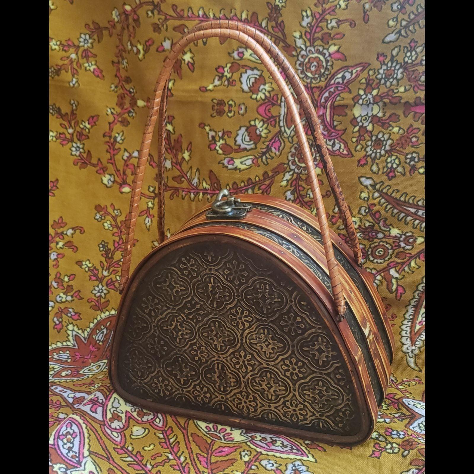 Antique bamboo wooden handbag