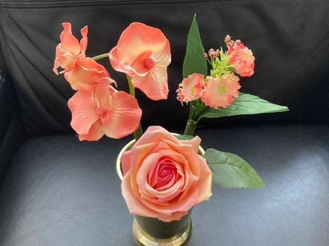Orange/Peach flower pens, Orchid, Rose,