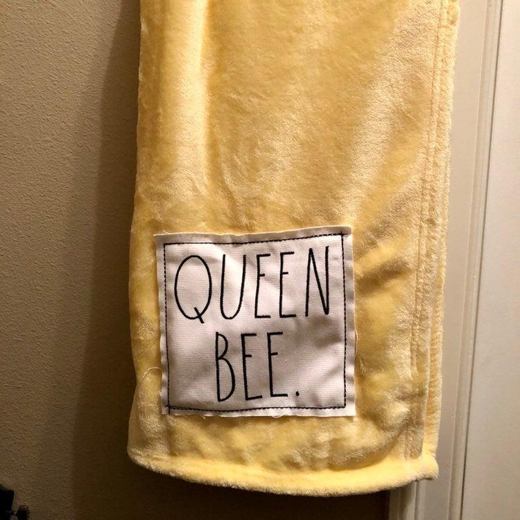 Rae Dunn Yellow Plush Throw - QUEEN BEE