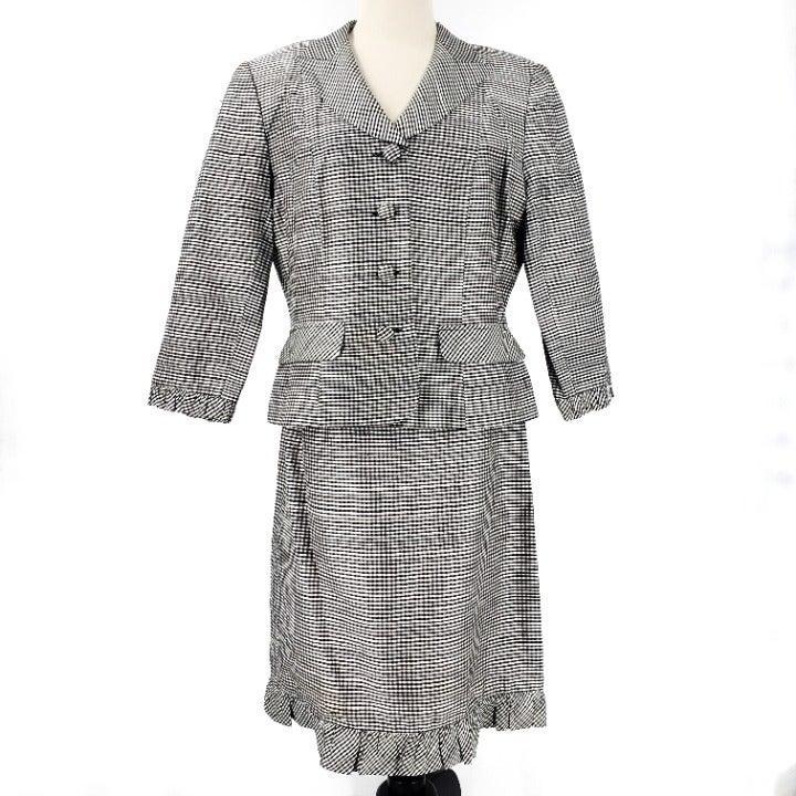 Kay Unger Silk Gingham Suit Dress SZ 12