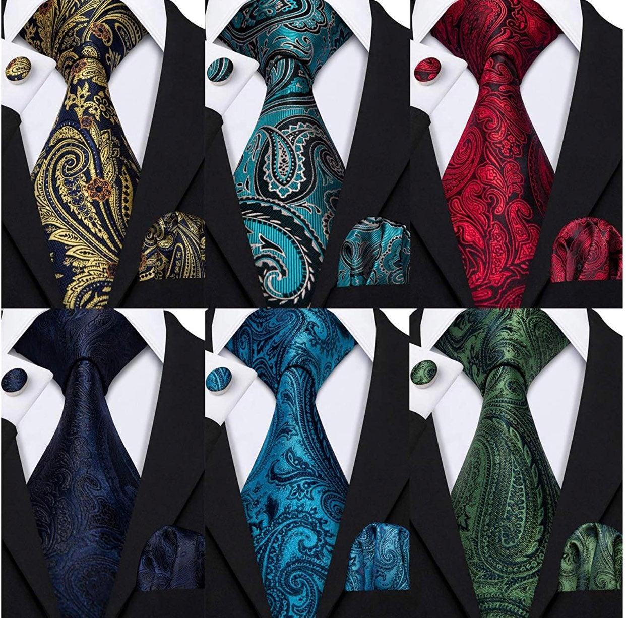 Men's Silk Coordinated Tie Set - 6 Color