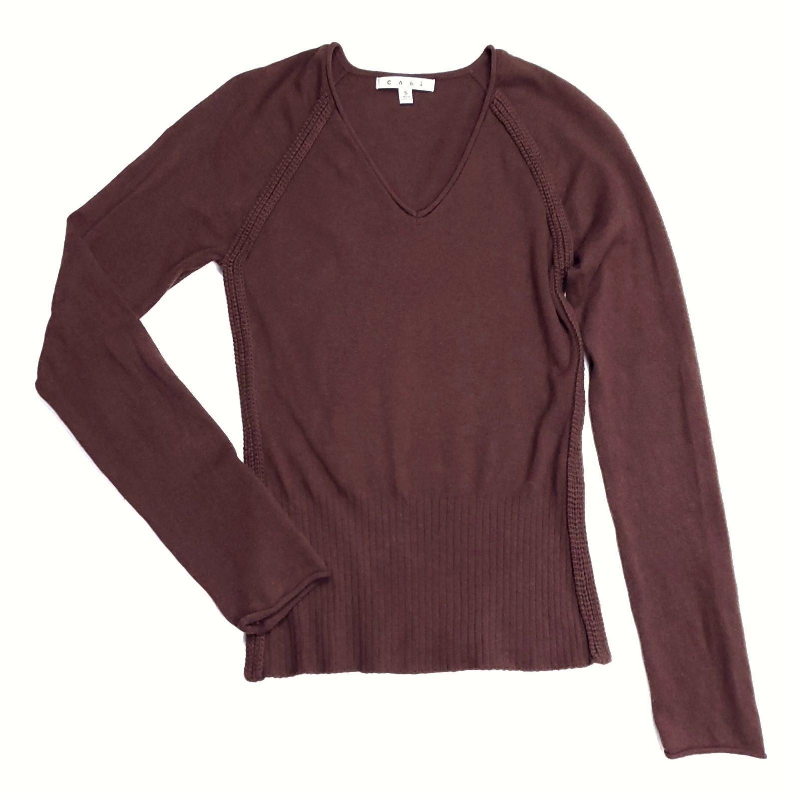 CAbi Brown V-neck Pullover Sweater Small