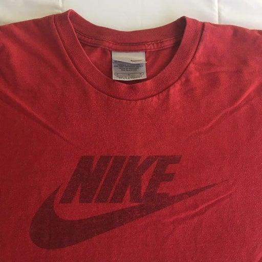 Vintage 90s Nike T-Shirt Mens Large Swoosh Red Basketball Hip Hop Hipster Sports