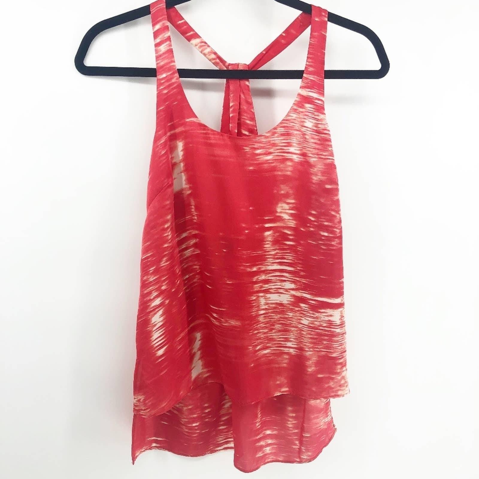 BCBGMaxazria Red White Tie Dye Tank Top