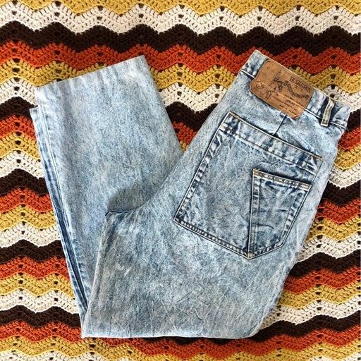 Bugle Boy Vtg 80s Pleated Acid Wash Jean