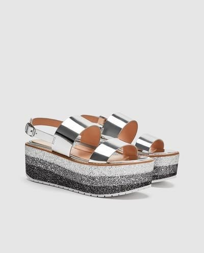 Zara Metallic Glitter Sandals Size 35