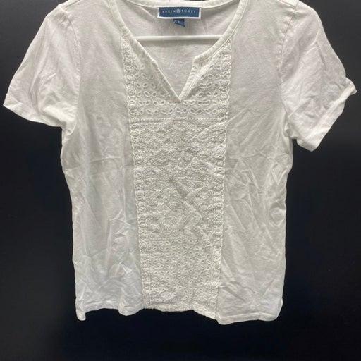 KAREN SCOTT women top blouse Small WHITE NWOT