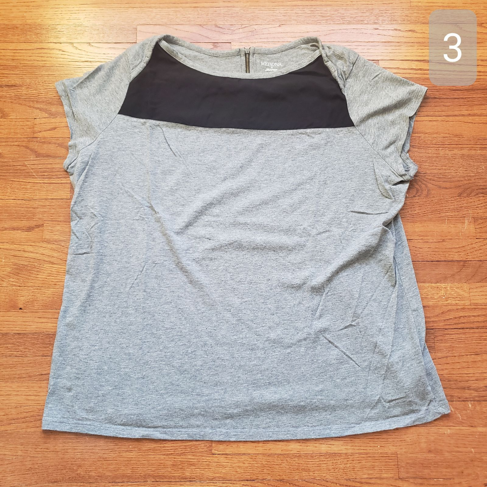 Merona   S/S Colorblock Top   Gray   3