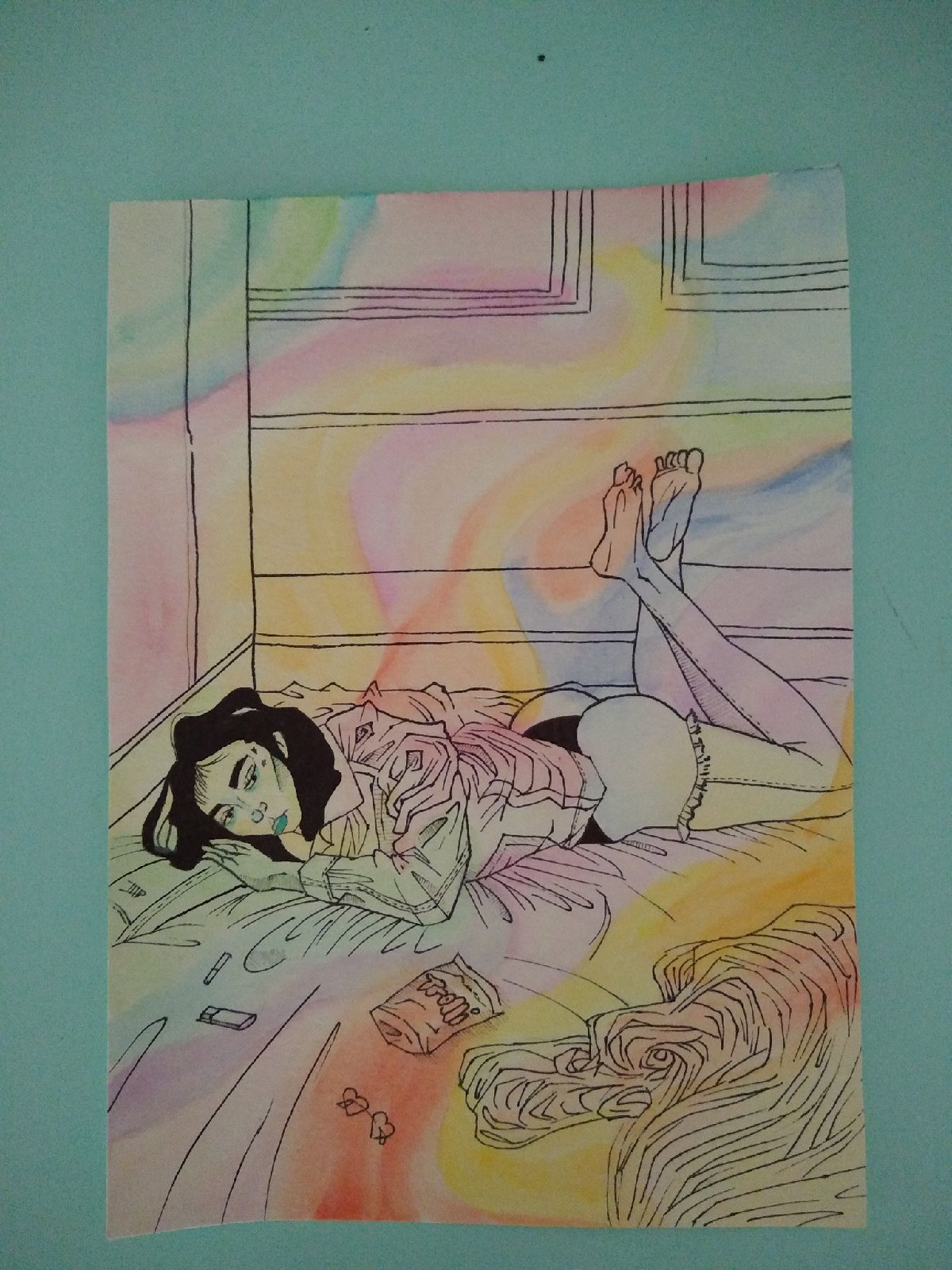 Original art piece hippie psychedelic ec