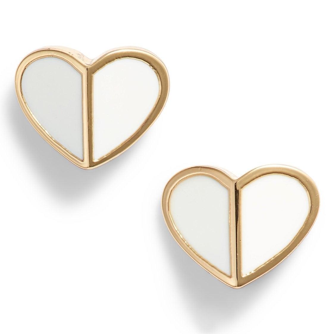 NWT Kate Spade White Heart Earrings