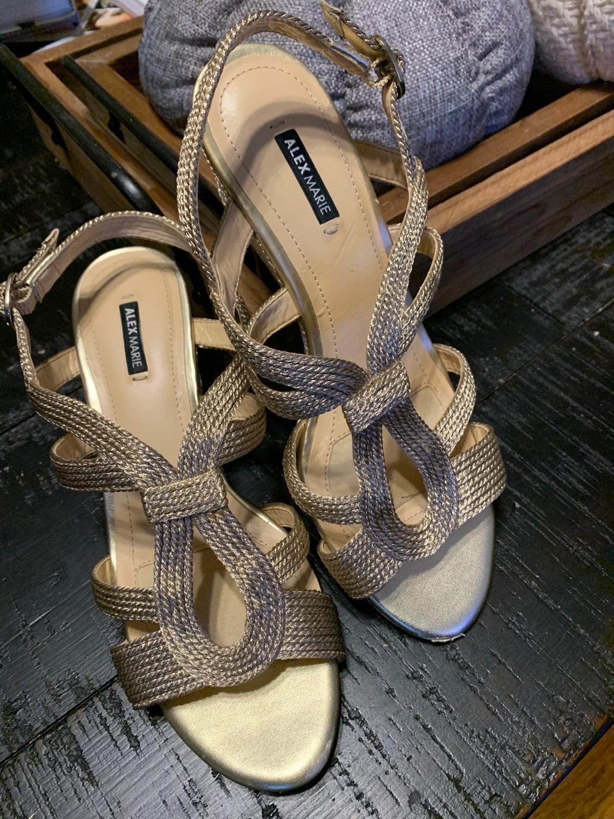 womens shoes 8.5.  Gold sandals. Alex Ma