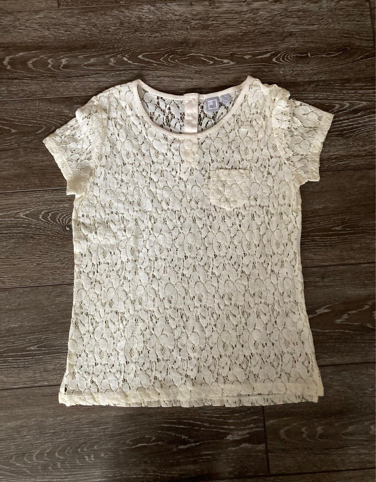 Lace tee shirt cream small