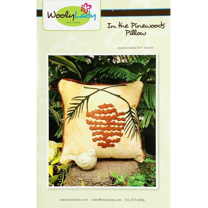 In the Pinewoods Pillow, Pinecone Applique Pillow Pattern by WoolyLady