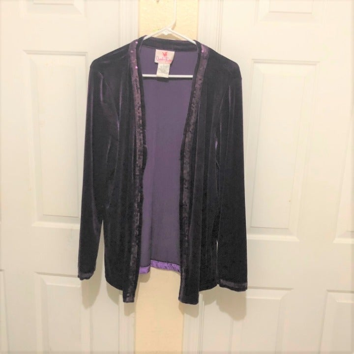 Quacker Factory Purple Velvet Cardigan