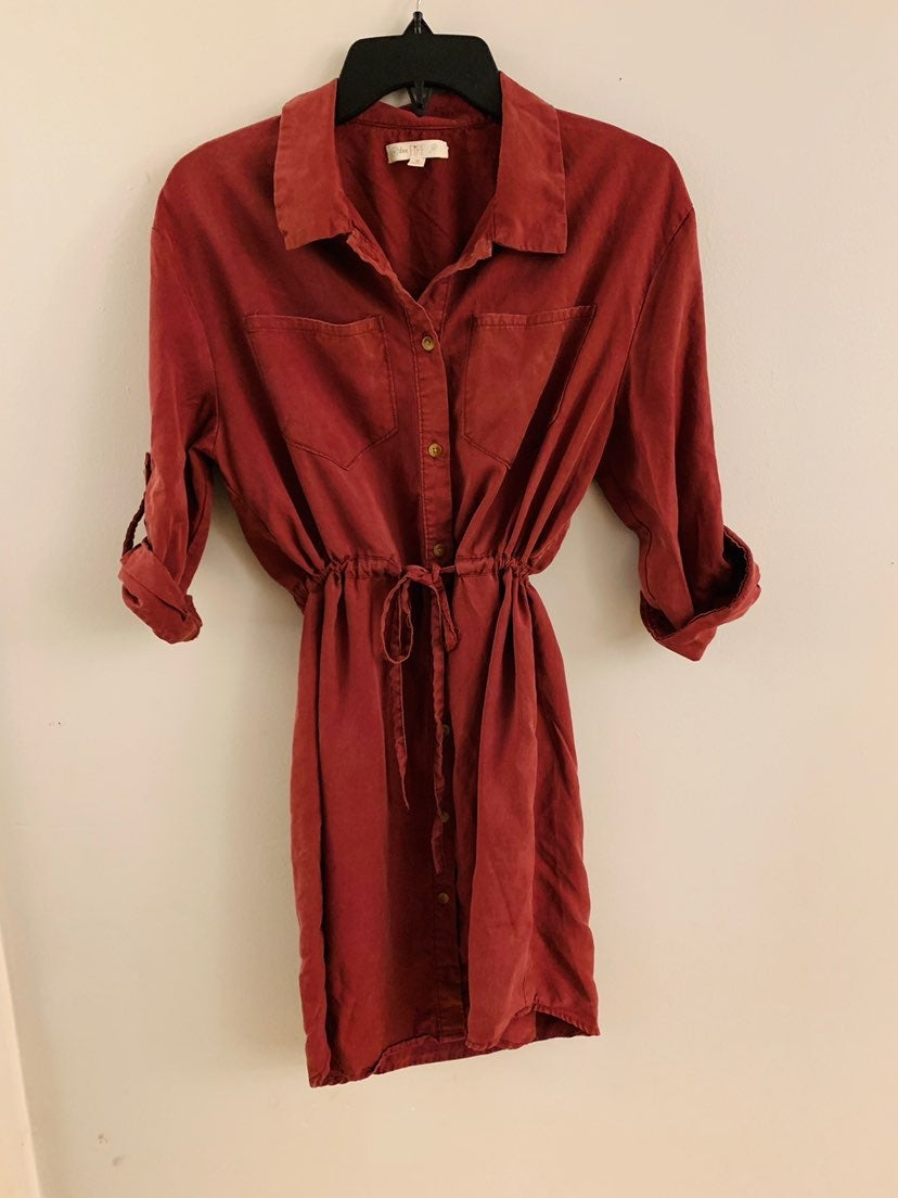 Womens cuff sleeve shirt dress
