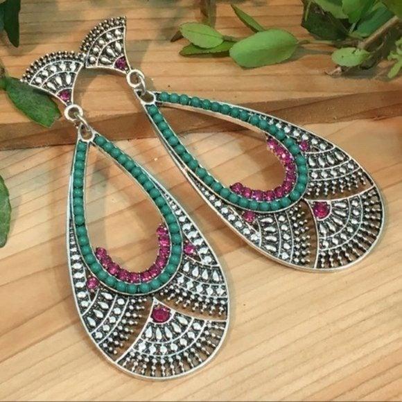 Turquoise & Raspberry Rhinestone Earring