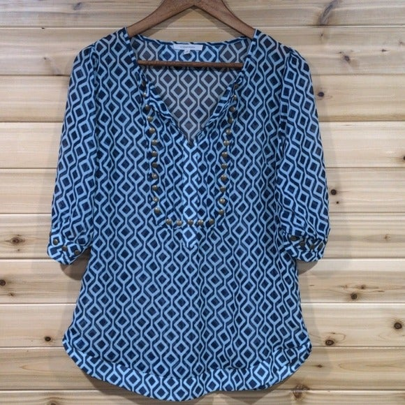 41 Hawthorn Geometric Print Sheer Blouse
