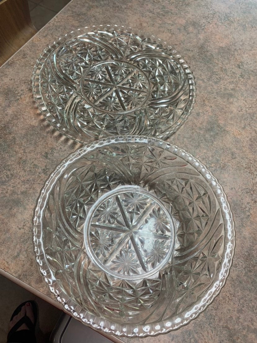 Vintage glass tray and bowl