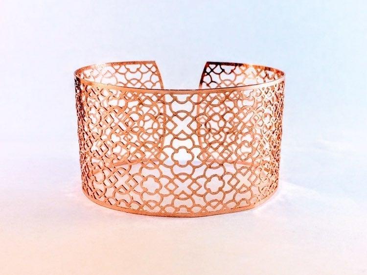 Rose Gold Cut-out Filigree Cuff Bracelet
