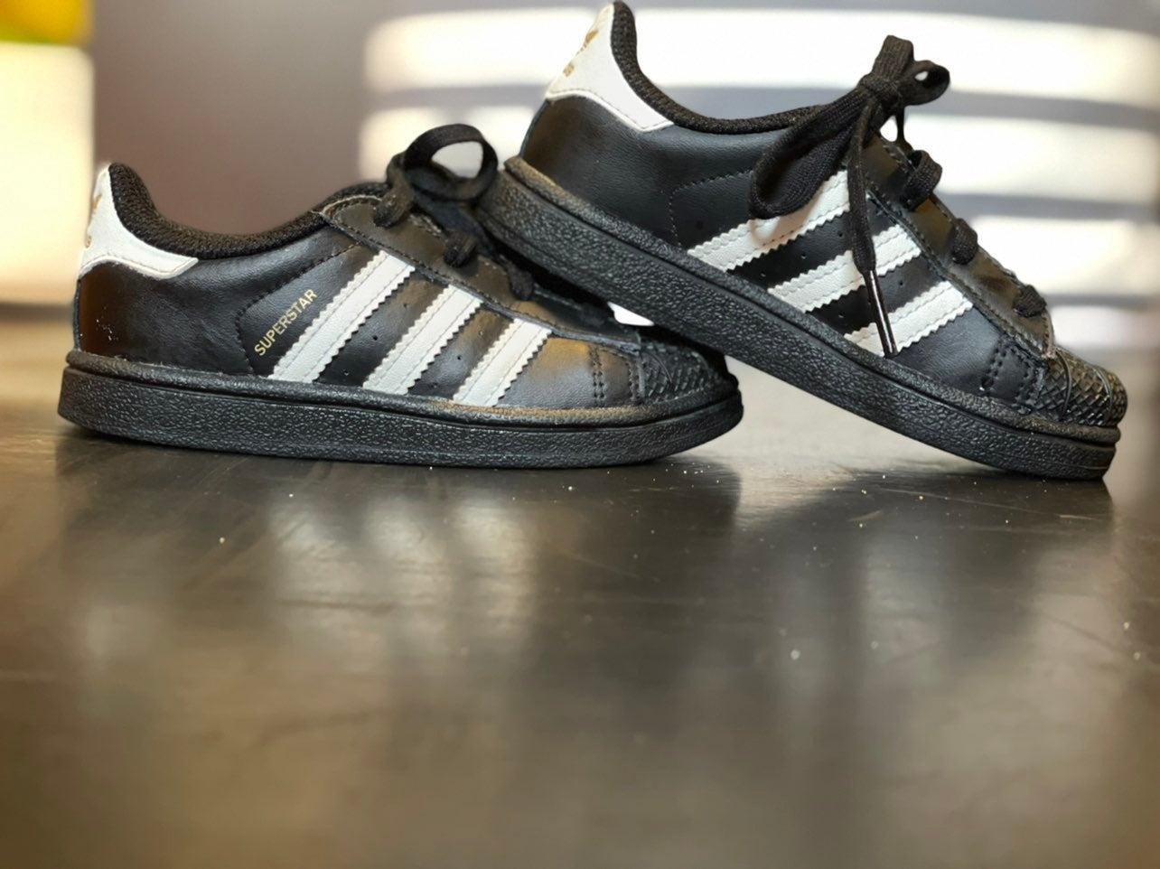 Adidas Superstar Black Shoes 8c toddler
