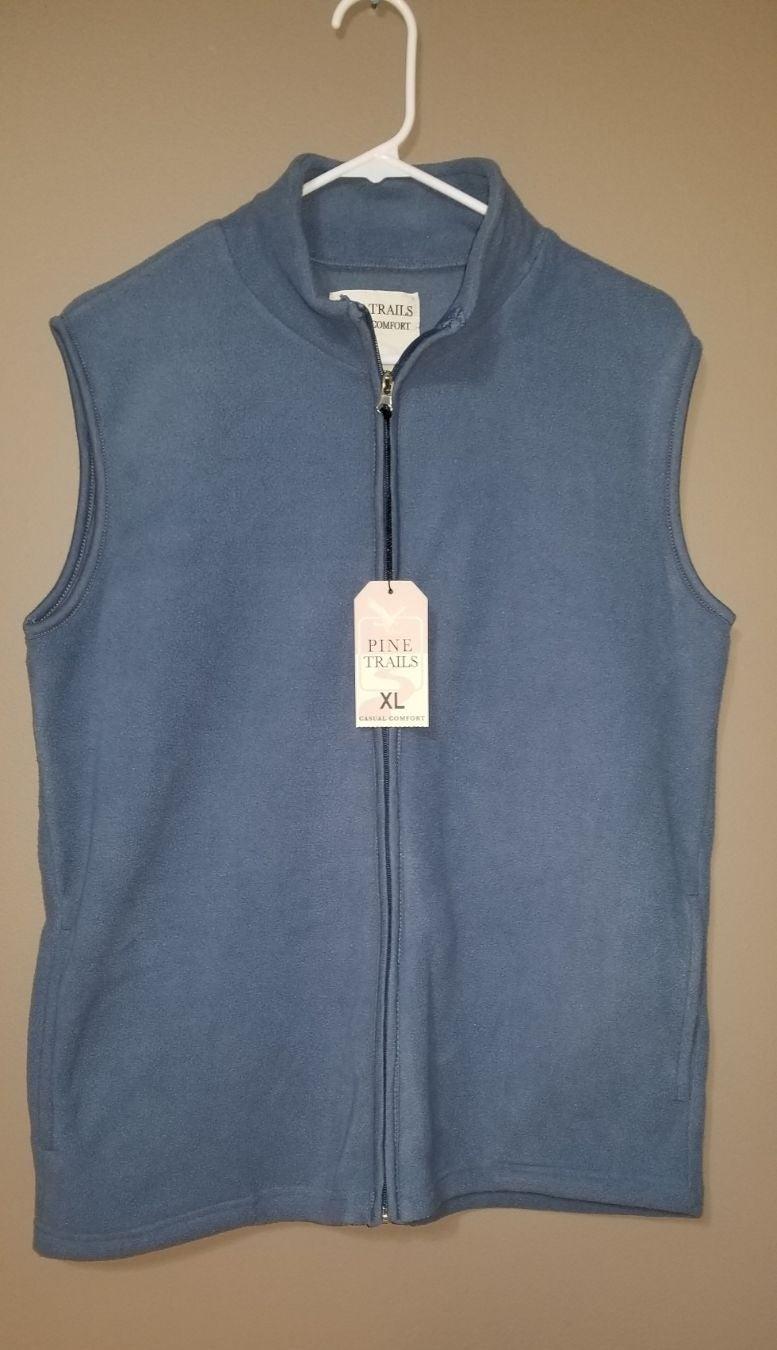 NWT Blue Fleece Zip Vest XL Women's