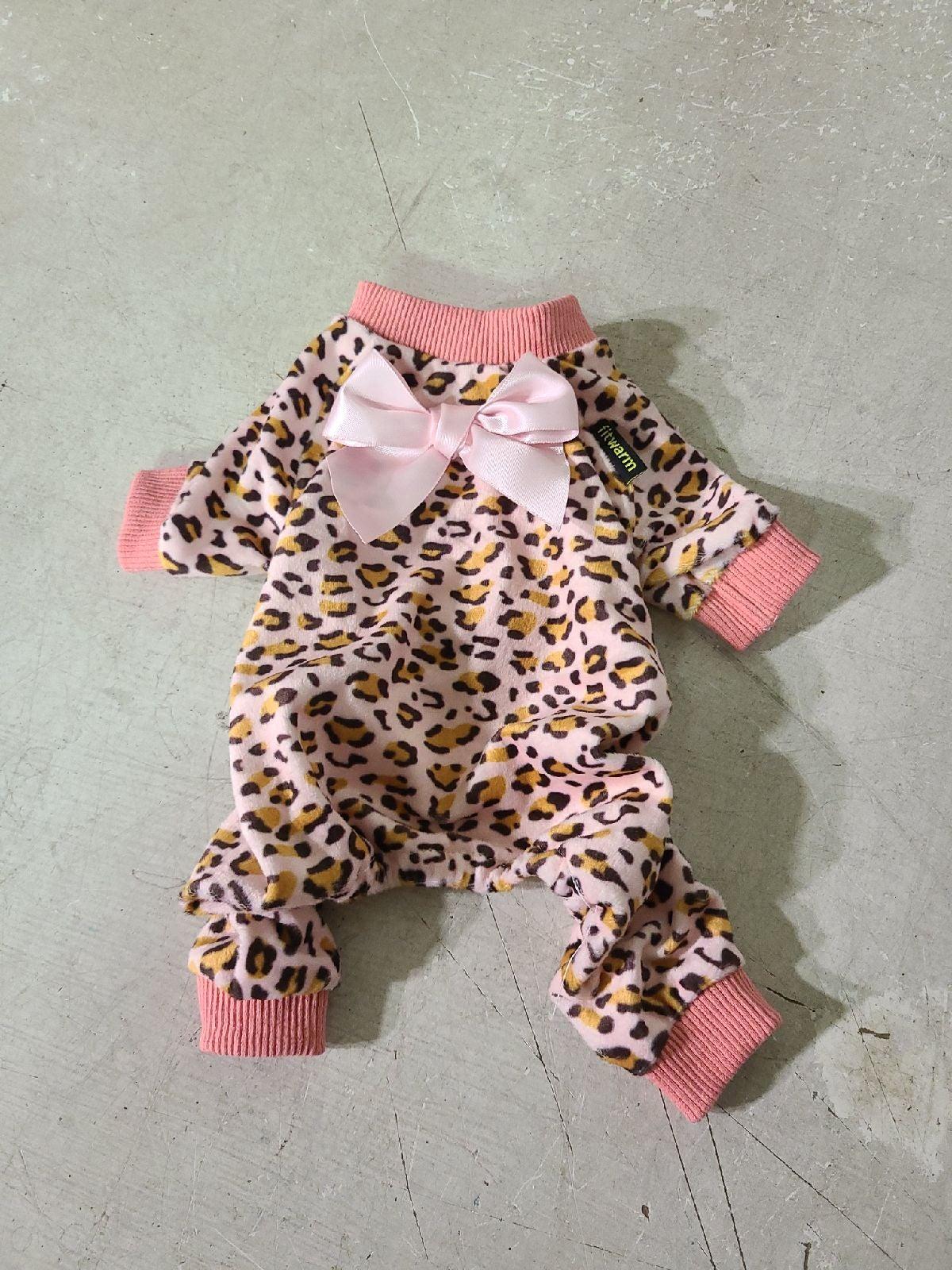 Pink leopard dog pajama
