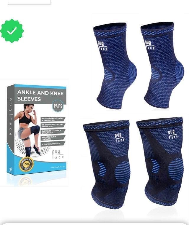 Lg 4pc  2 Ankle & 2 Knee sleeves