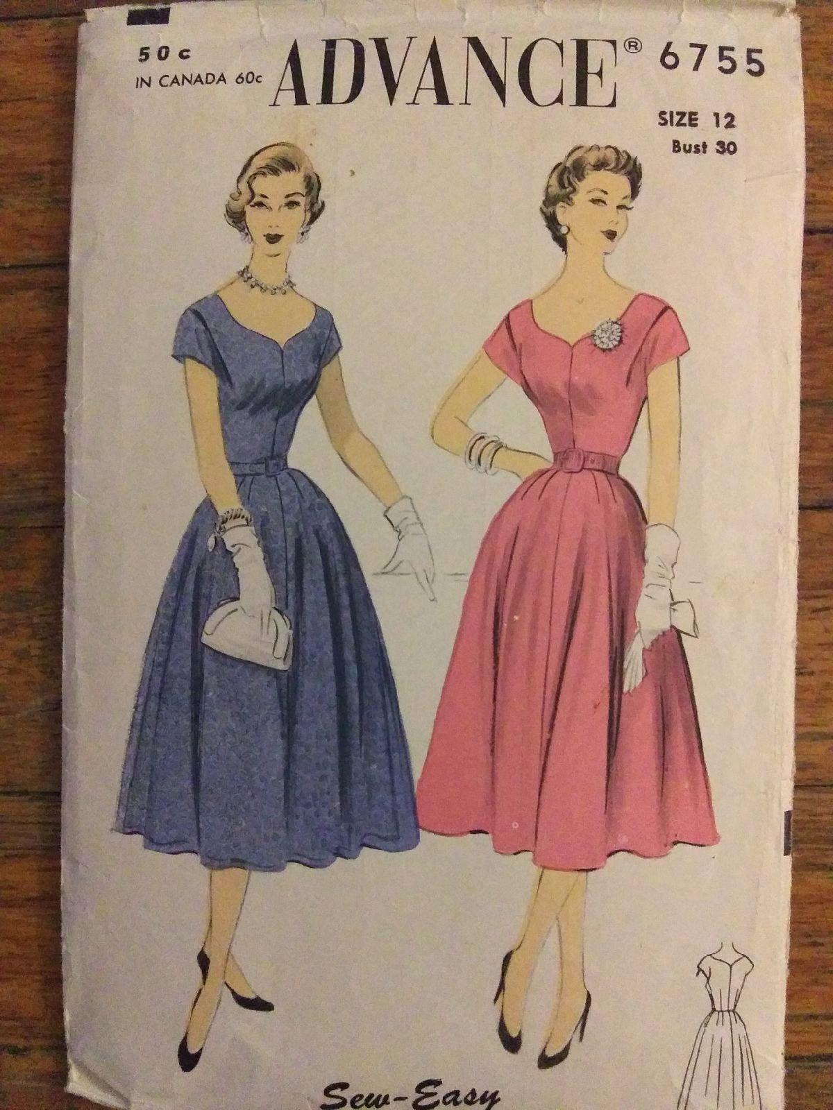 Vintage 50s Advance 6755 Dress Pattern