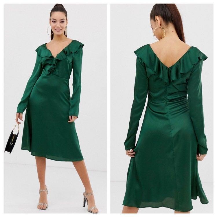 Missguided Ruffle Midi Green Dress