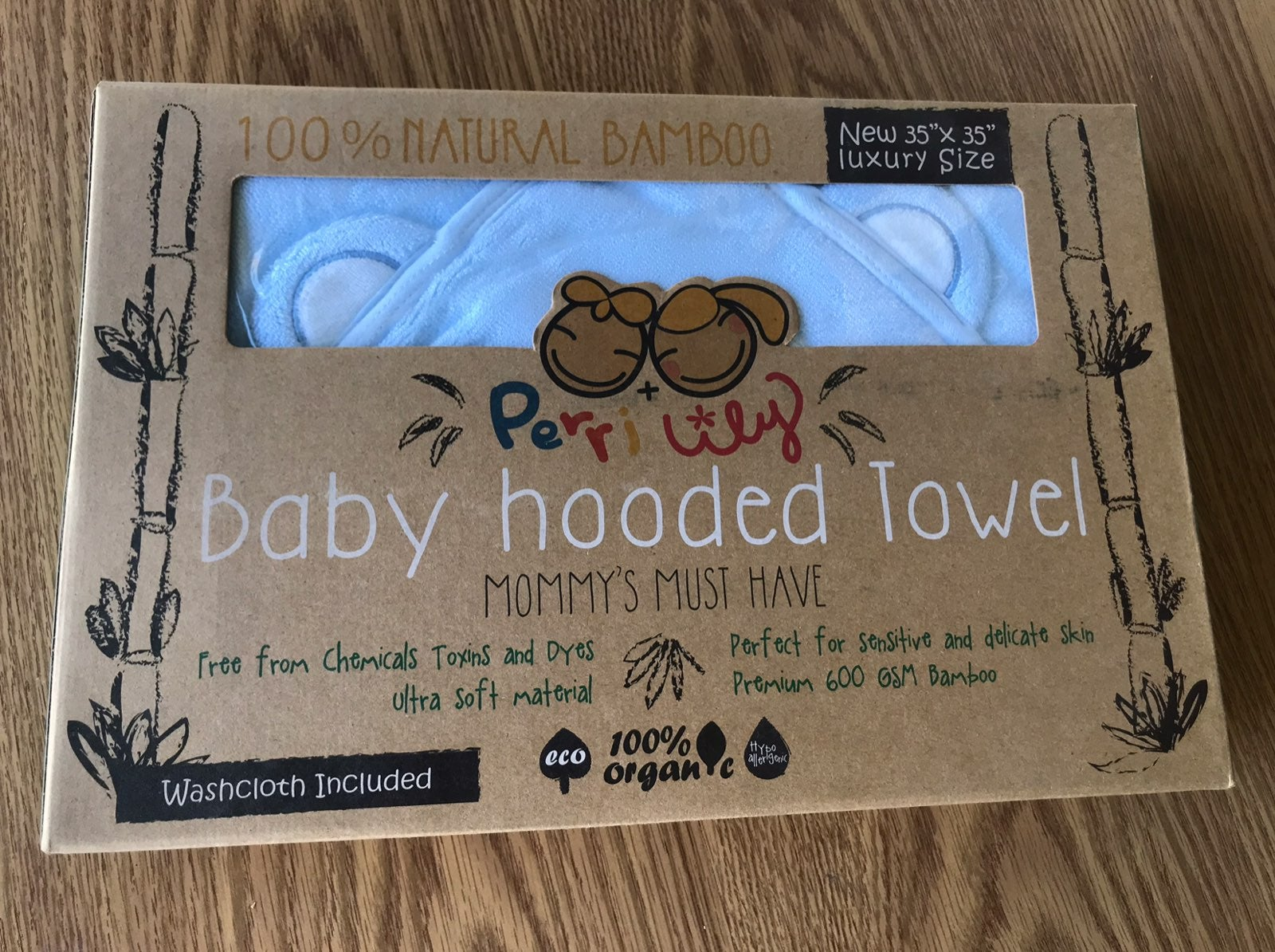 Baby hooded towel 100% natural bamboo