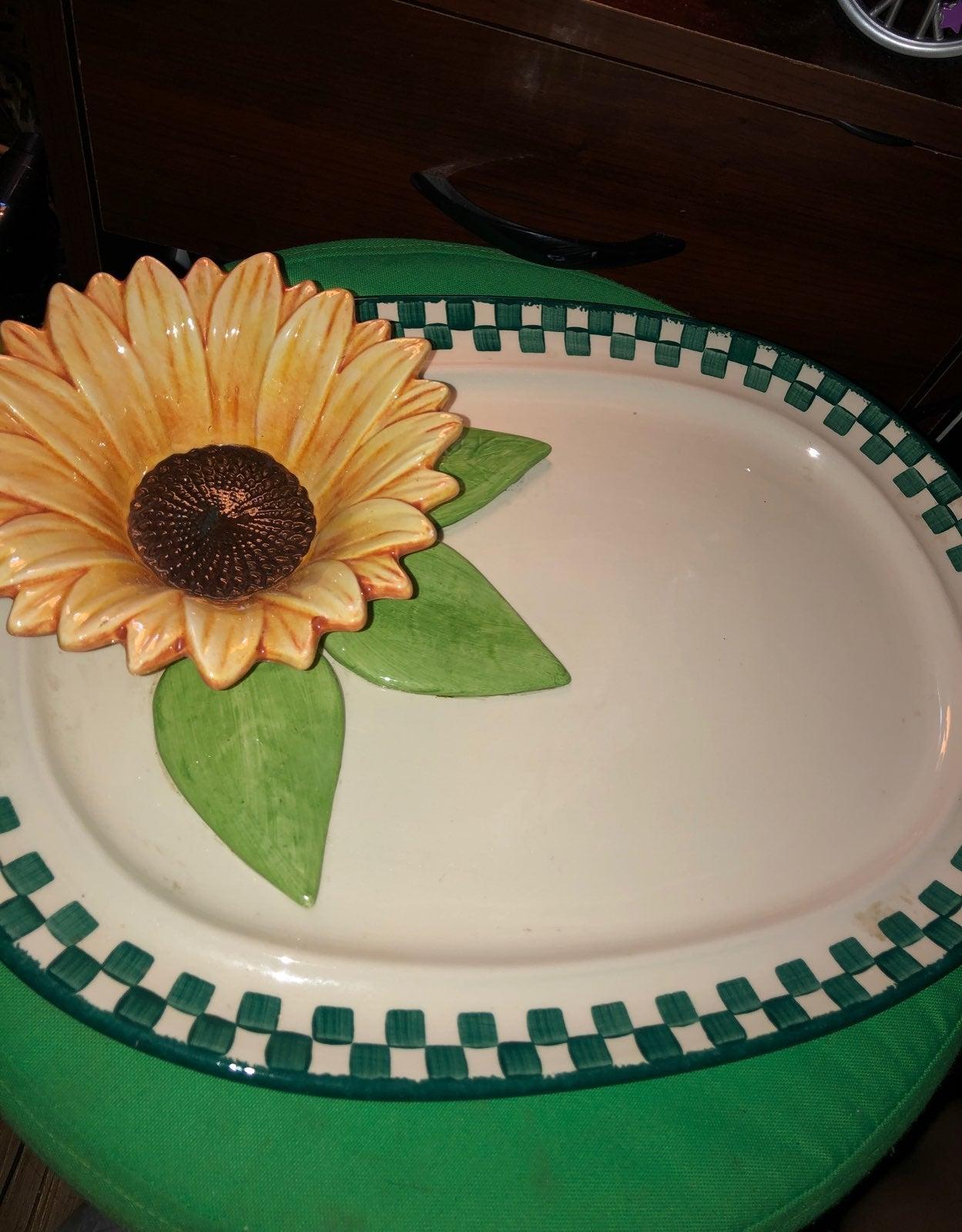 Handmade Sunflower Plate