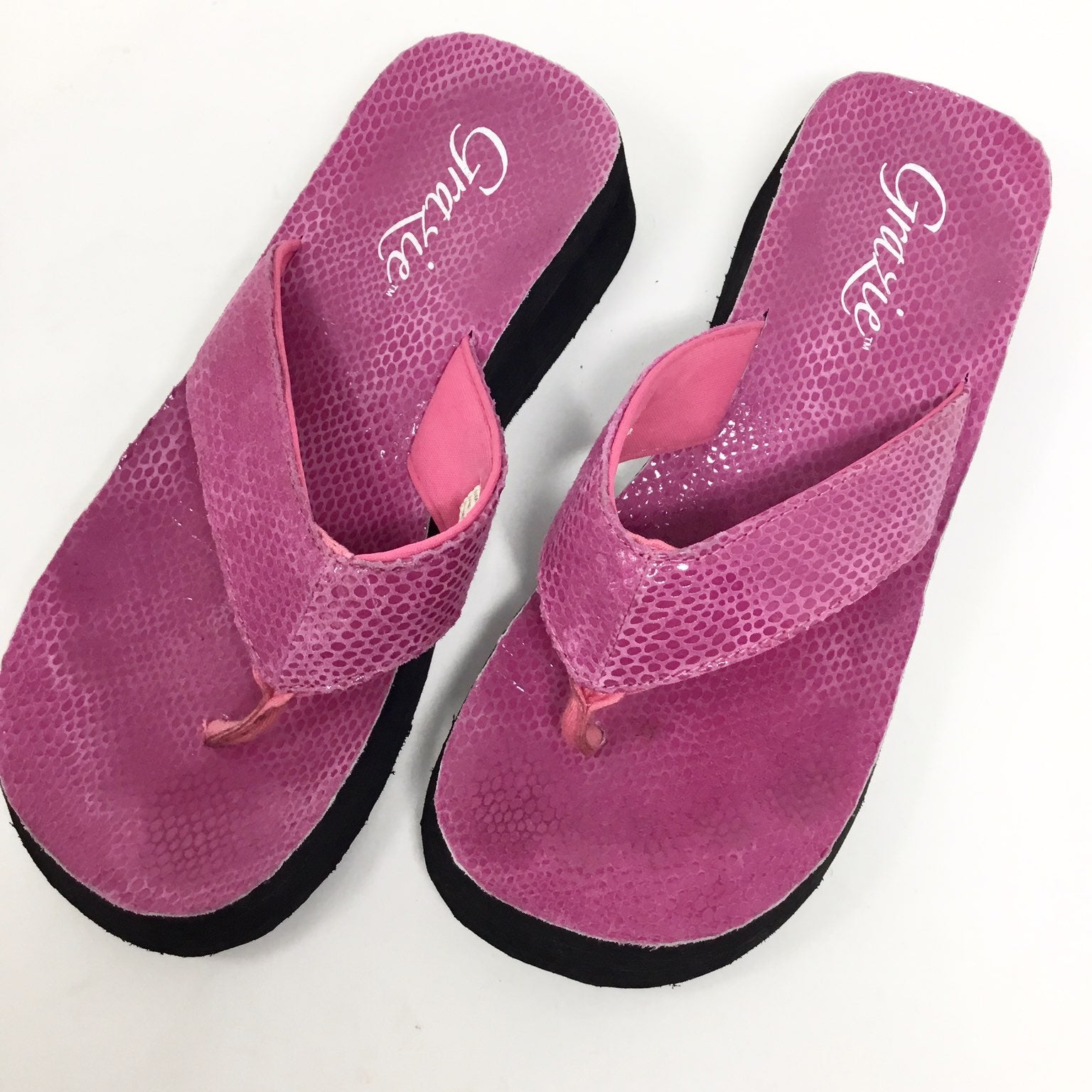 Grazie pink leather wedge flip flops
