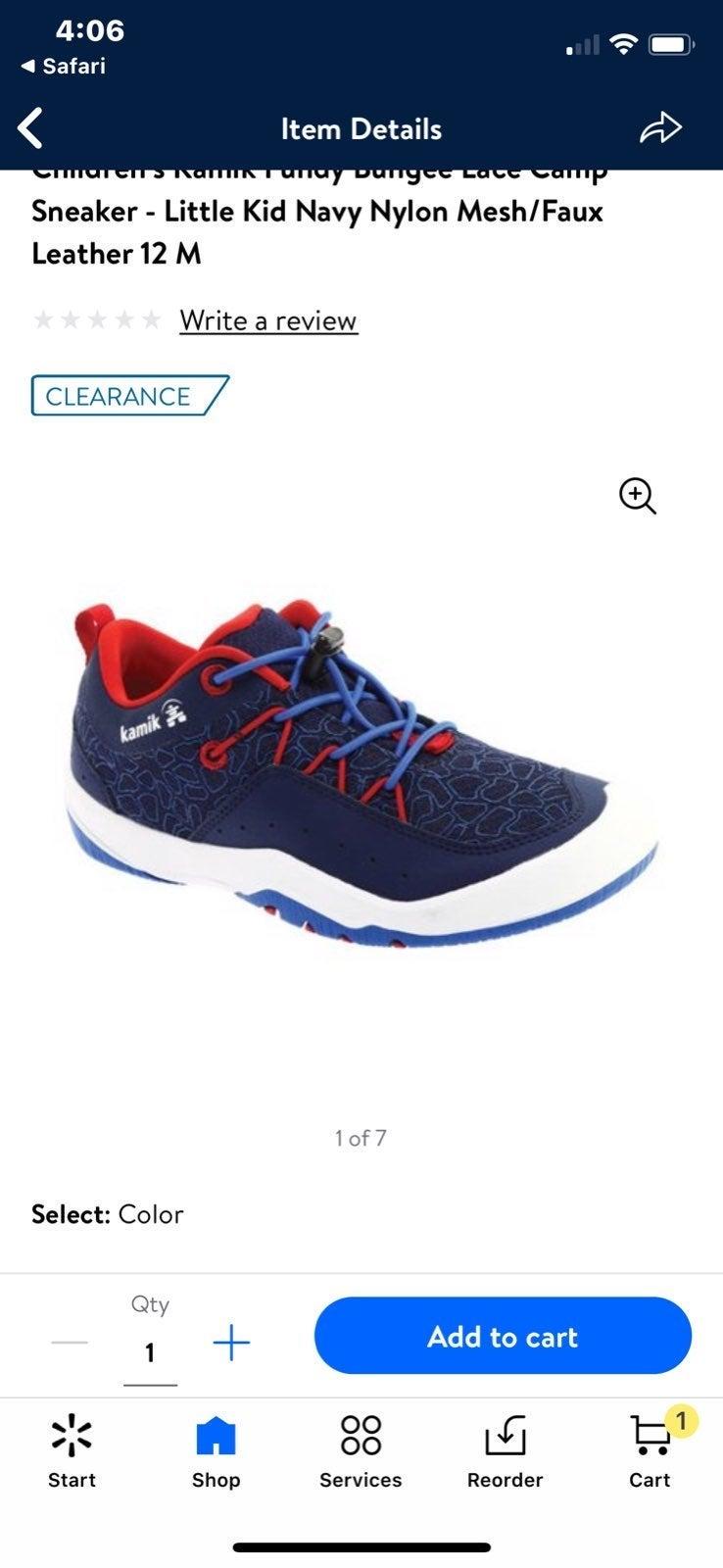 Boys Kamik Fundy Sneakers Red Blue 10