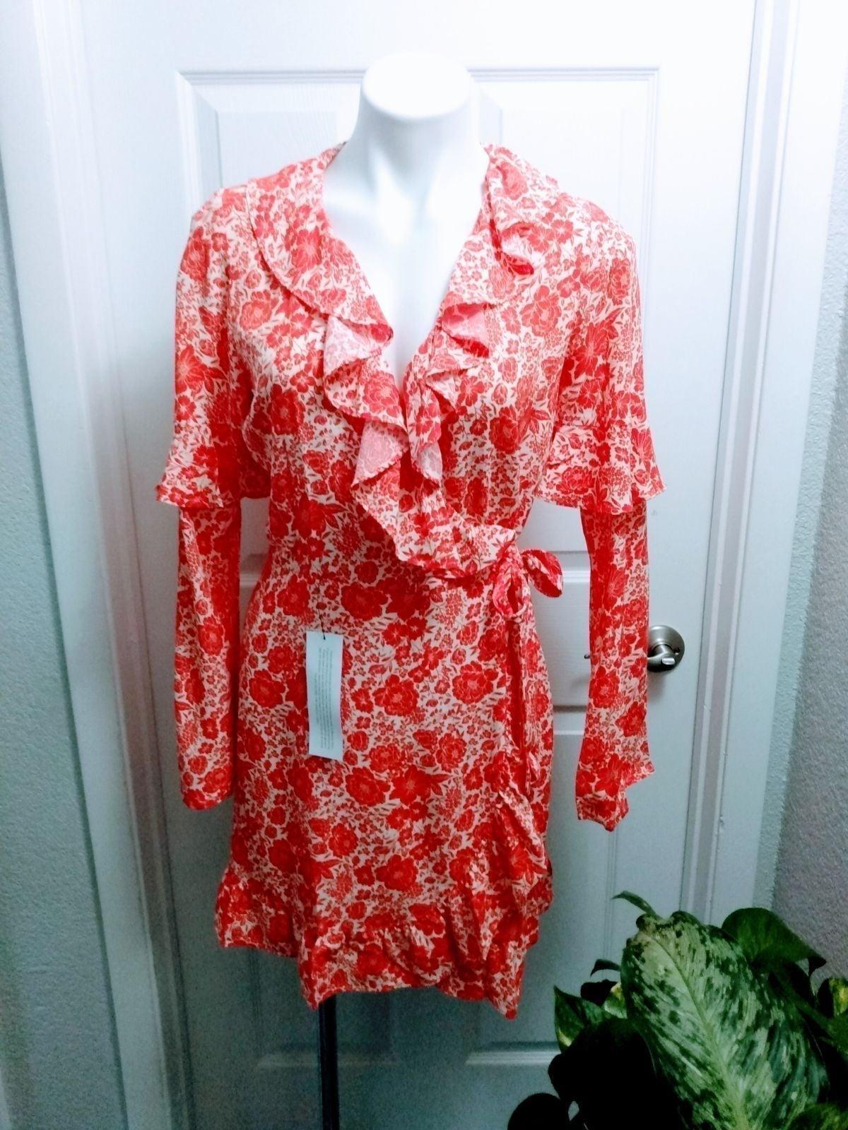 NWT TopShop Red Floral Wrap Dress sz 6
