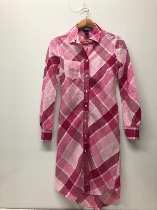 Moda Int Midi Plaid Shirt Dress Pink 0