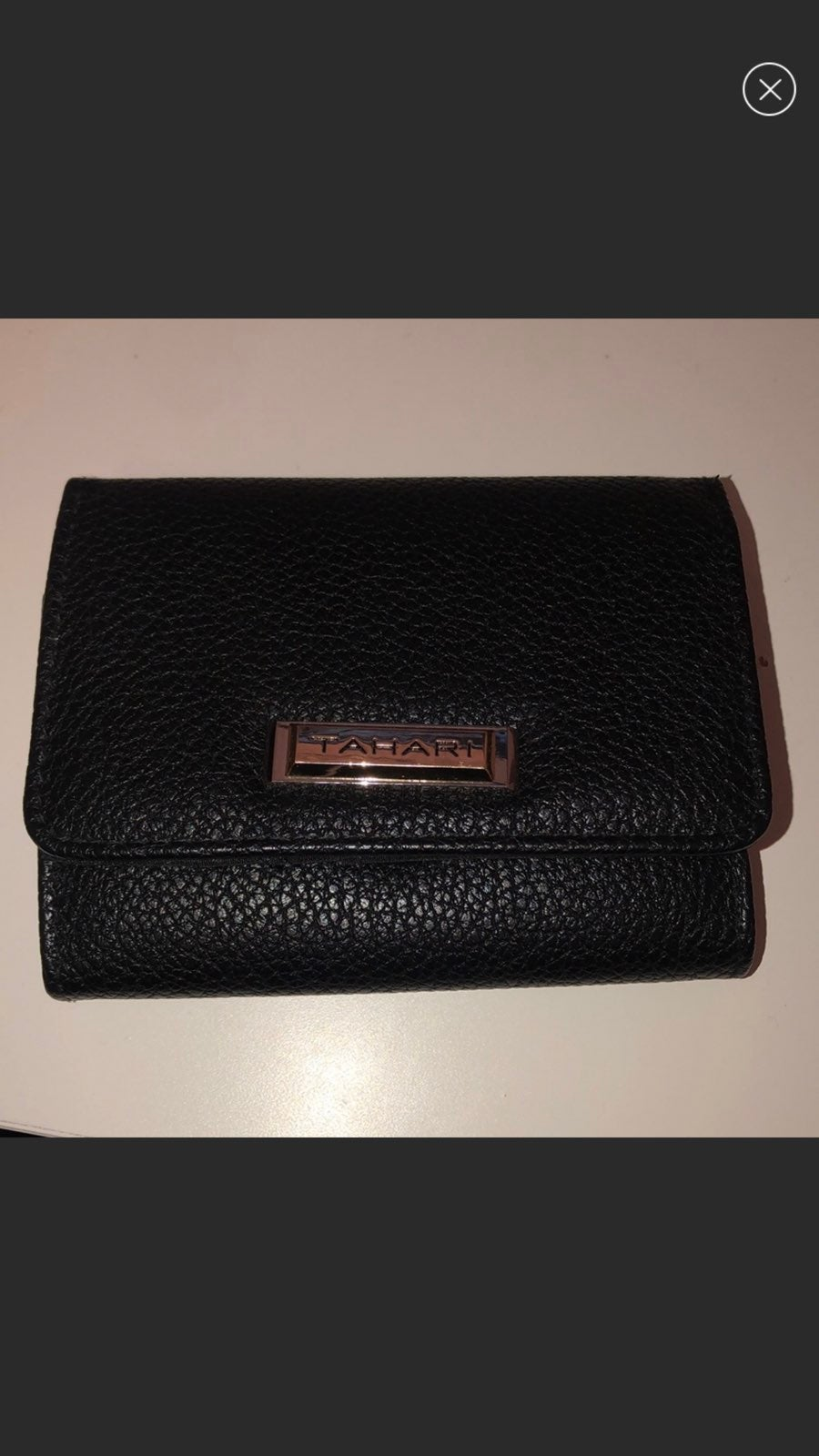 tahari black button clasp wallet