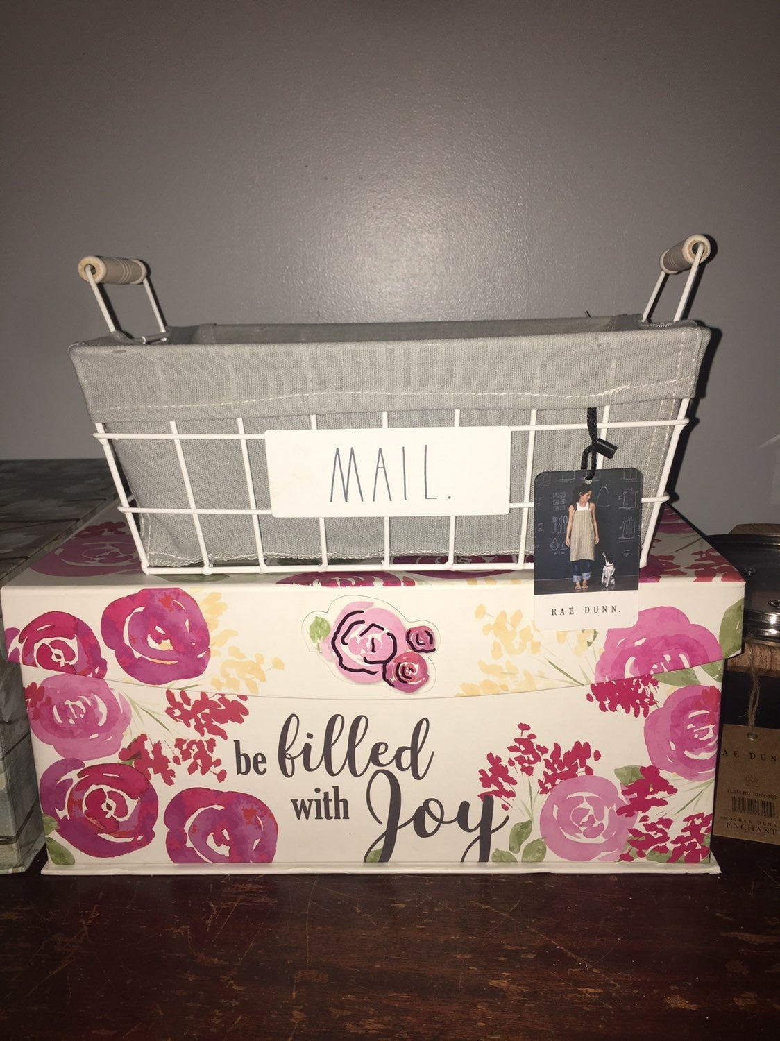 Rae Dunn MAIL FABRIC LINED BASKET