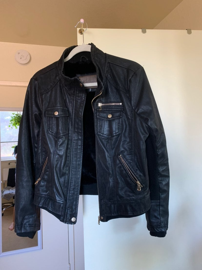 Faux Leather fur lined moto Jacket