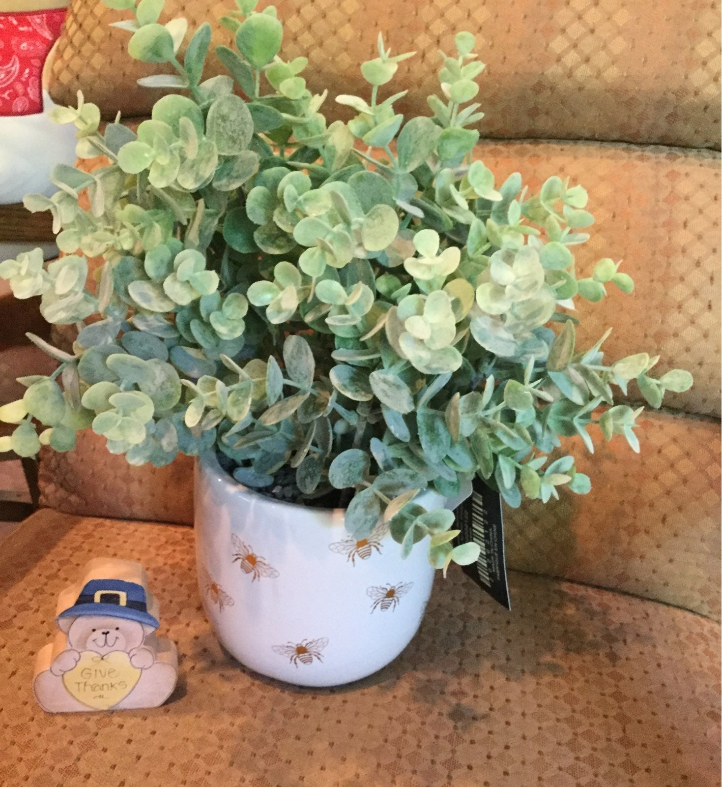 Farmhouse Bee Planter with Faux Plant
