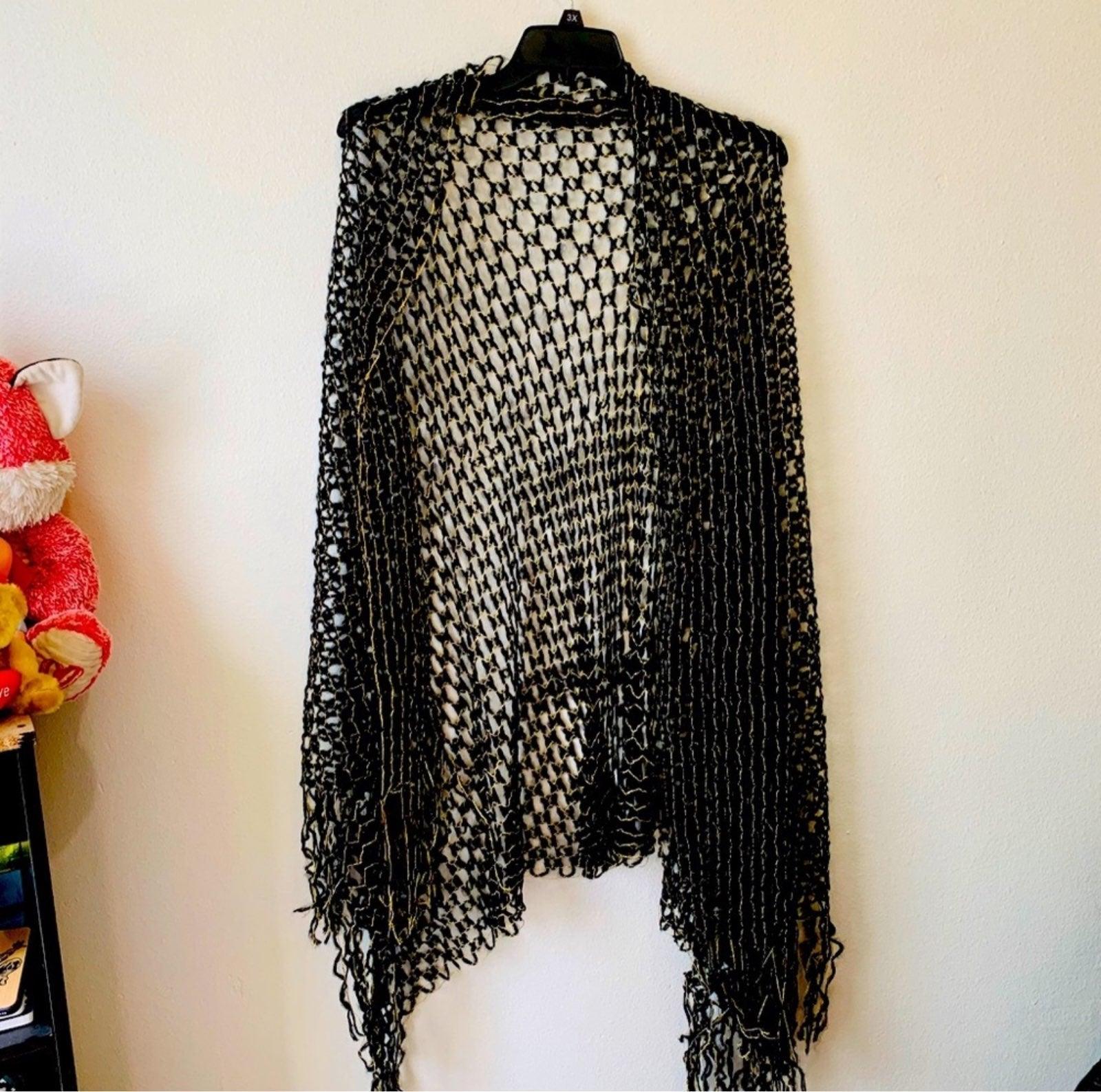 Black & Gold Knit Shawl Scarf
