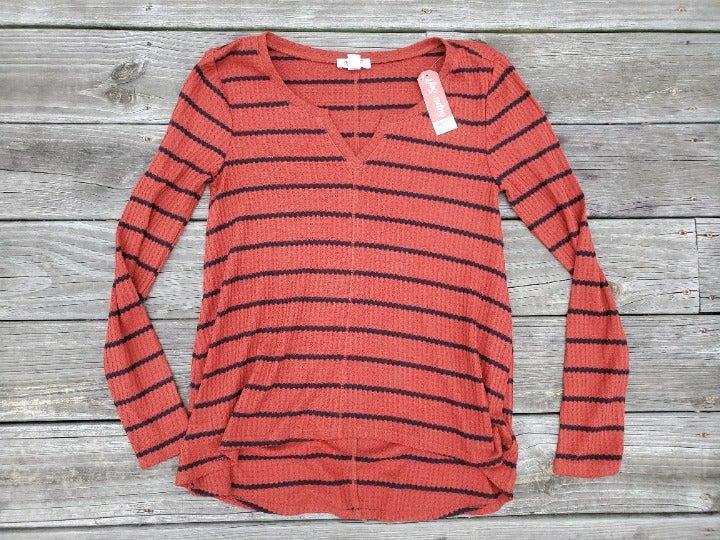 ARIZONA Super Soft Red Black Striped Top