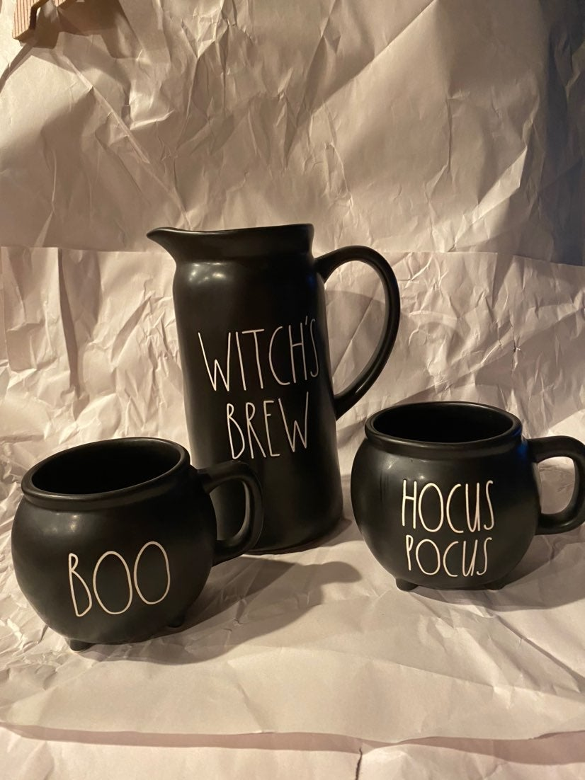 Rae dunn witch's brew pitcher and cauldr