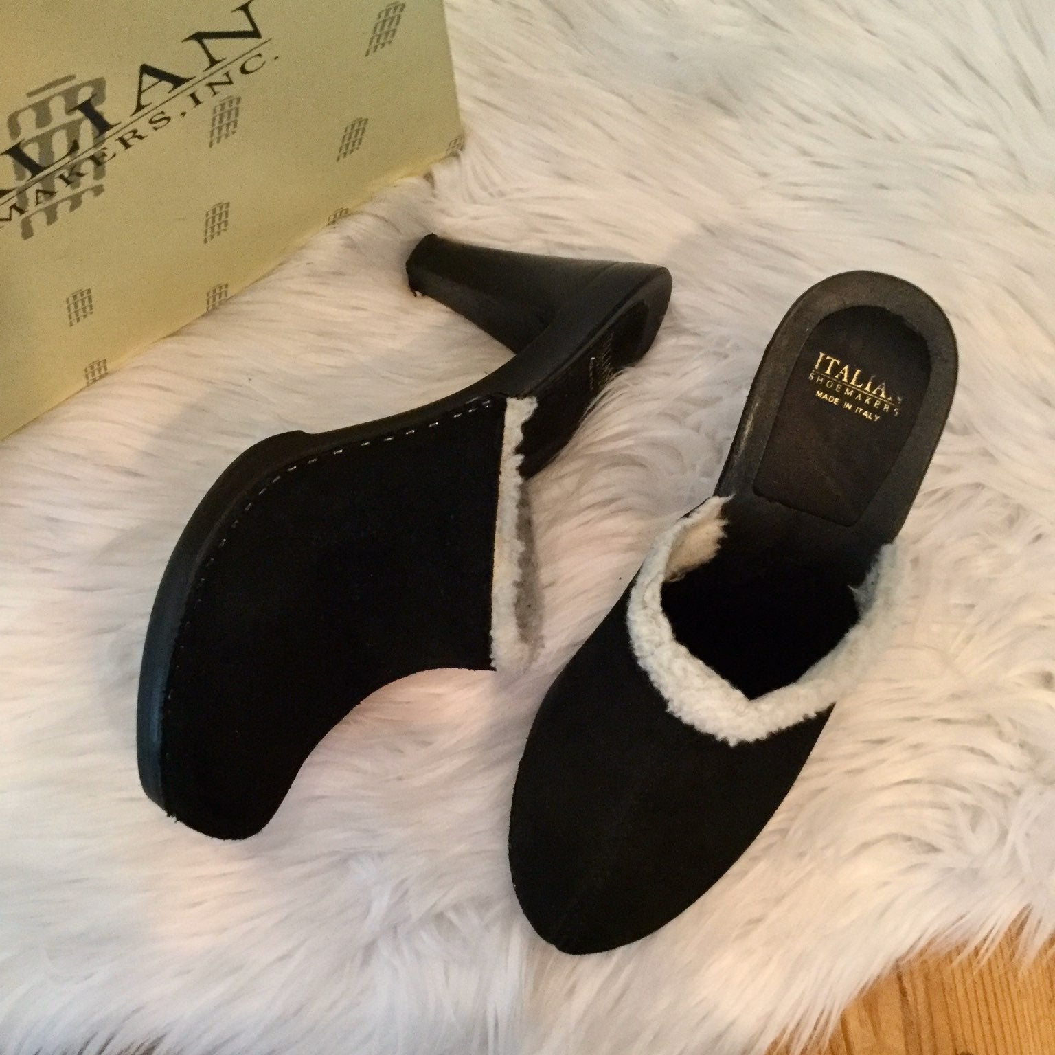 Italian Shoemakers Suede Heel Mules, 9